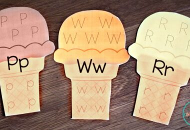 Make practicing tracing letters fun with these alphabet ice cream cones