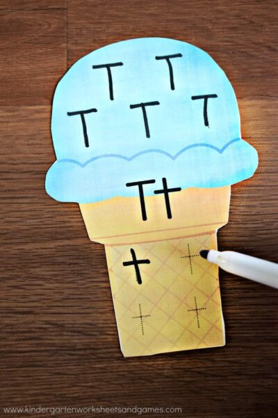 This free ice cream printable allows kids to practice tracing both upper and lowercase letters.