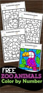 FREE Zoo Animals Color by Number Worksheets to help preschool and kindergarten age kids practice number recognition with numbers 1-10 #colorbynumber #preschool #kindergarten