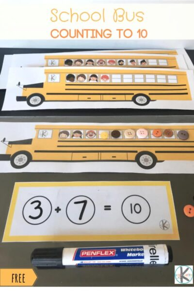 FREE School Bus Counting to 10 - kindergarten age kids will have fun with this clever back to school themed math activity where kids will practice addition within 10 #backtoschool #kindergarten #math