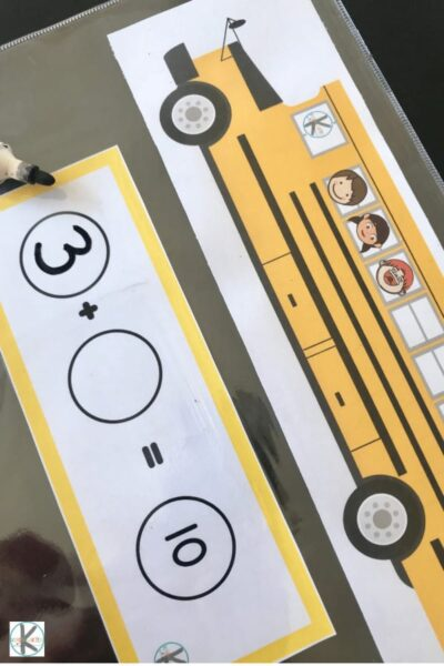 school bus math perfect for prek and kindergartners as part of a back to school theme