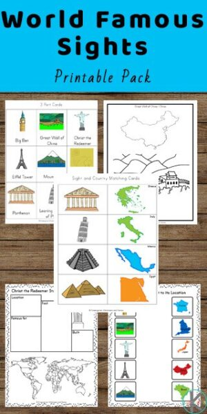 FREE World Famous Sights Printable Pack - kids will have fun learning about famous landmarks and buildings around the world with these free printable worksheets for preschool, prek, kindergarten, and first grade kids #aroundtheworld #preschool #kindergarten