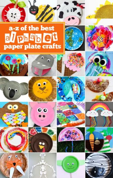 Alphabet Paper Plate Crafts! Several ideas for each letter from A to Z! These are great for toddler, preschool, prek, and kindergarten kids learning their letters or a letter of the week program. #alphabet #paperplate #crafts