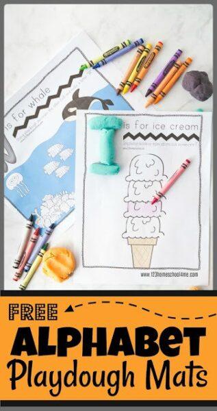 FREE Alphabet Playdough PLAYmats for toddler, preschool, prek, and kindergarten