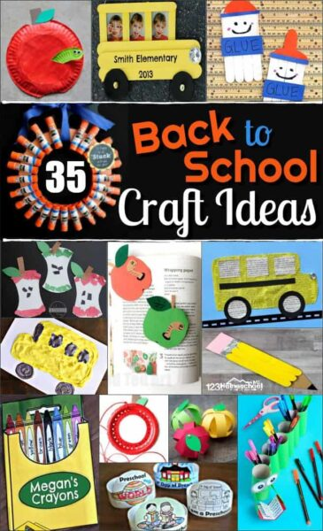 35+ Back to School Craft Ideas for getting preschoolers and kindergartners excited for the first day of school. Ideas include school bus, apples, school supplies, apple, crayons, pencils, and more #backtoschool #preschool #crafts