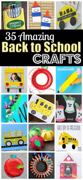 35 Back to School Crafts - so many amazing, fun to make back to school craft ideas for the first day of school with preschool, prek, kindergarten, first grade, and more #backtoschool #craftsforkids #preschool