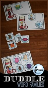 Bubble Word Families activity for kindergartners