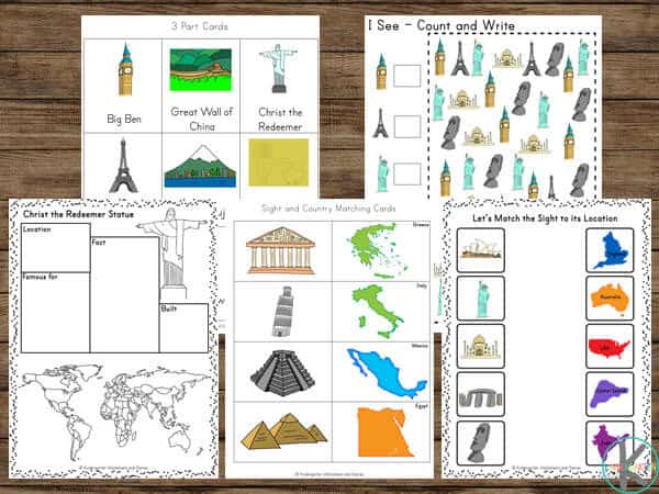 Famous Landmarks Around the World for kids to learn while practicing math and literacy skills