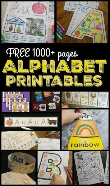 Over 1000 pages of FREE Alphabet Printables for preschoolers and kindergartners to learn their letters while having FUN