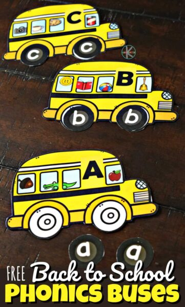 FREE Back to School Phonics Buses - these are a great visual alphabet activity for displaying, using as puzzles working on uppercase and lowercase letters, or matching beginning sounds too #kindergarten #backtoschool #alphabet