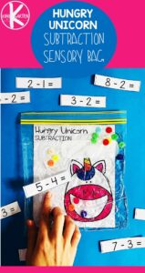 Hungry Unicorn is a fun, hands-on Kindergarten Math activity where kids will practice subtraction as they feed the unicorn. #kindergarten #hungryunicorn #subtraction