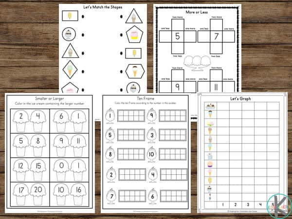 Ice cream worksheets for shapes and comparing numbers and graphing