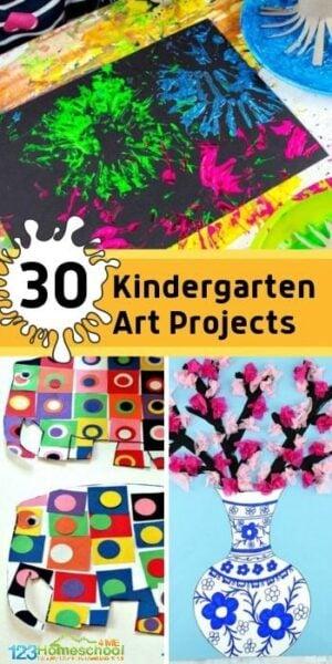 30 Kindergarten Art Projects - so many fun, creative and unique crafts for kids in preschool, prek, and kindergarten age kids #artprojects #craftsforkids #kindergarten