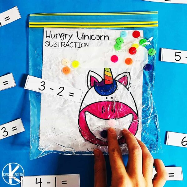 Kindergarten Math with a fun hungry unicorn theme that makes practicing subtraction fun for kindergartners