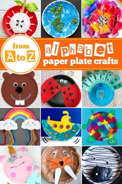A to Z Paper Plate Crafts - so many clever ideas for each letter #preschool #kindergarten #alphabetcrafts