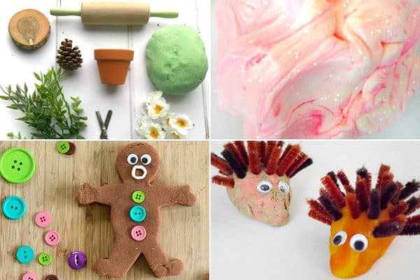 Play dough activities for eucalyptus, fairy, gingerbread, hedgehog, and more