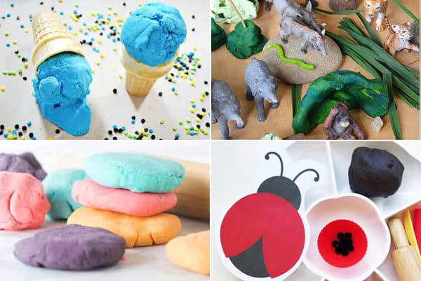 play dough recipes for ice cream, jungle, kool aid, ladybug, and more