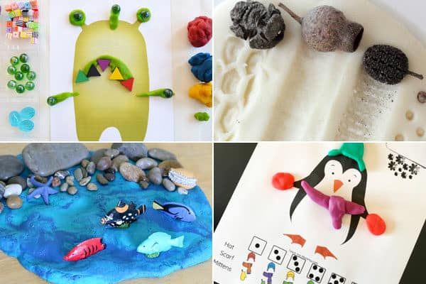 activities using playdough for minion, nature impressions, ocean, penguin, and more