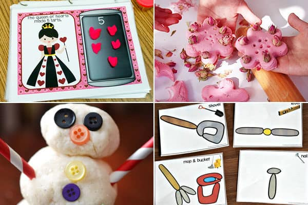 alphabet kids activities for queen, rose, snowman, tools, and more