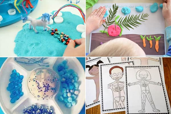 playdough alphabet activities for unicorn, vegetables, water, xray, and more