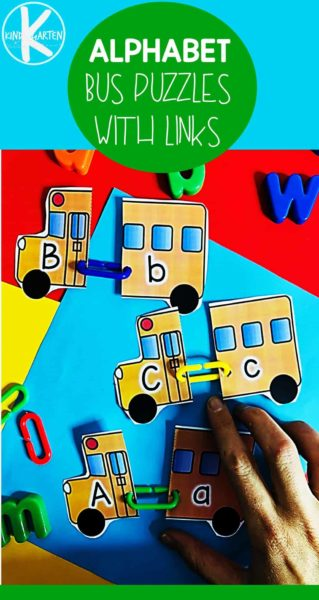 FREE School Bus Alphabet Activity - fun way for prek and kindergarten age kids to practice matching upper and lowercase letters with a fun back to school theme #backtoschool #kindergarten #alphabet