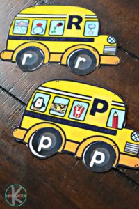 Kids will have fun looking for beginning sounds with this school bus activity for preschool, prek, and kindergarten age kids