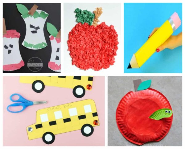 These school bus, apple, pencil, glue, crayon and other school craft ideas are super clever