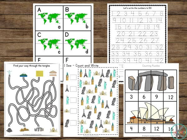World Landmarks for Kids is a fun workshete for preschoolers an dkindergartners to learn alphabet and numbers