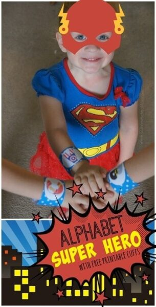FREE Super Hero Letter Cuffs perfect for a letter of the week program with preschool, prek, and kindergarten age kids