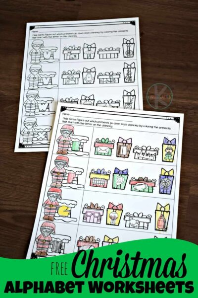 FREE Christmas Alphabet Worksheets - super cute free printables to help preschool, prek, and kindergarten age kids to practice phonics and beginning sounds with a fun Christmas theme #christmas #alphabet #kindergarten
