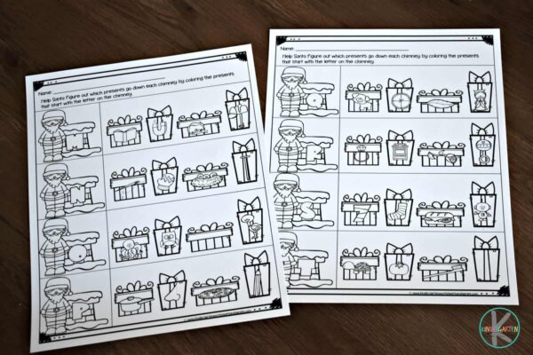 free printable Christmas Worksheets fro Kindergarten age kids to practice alphabet sounds