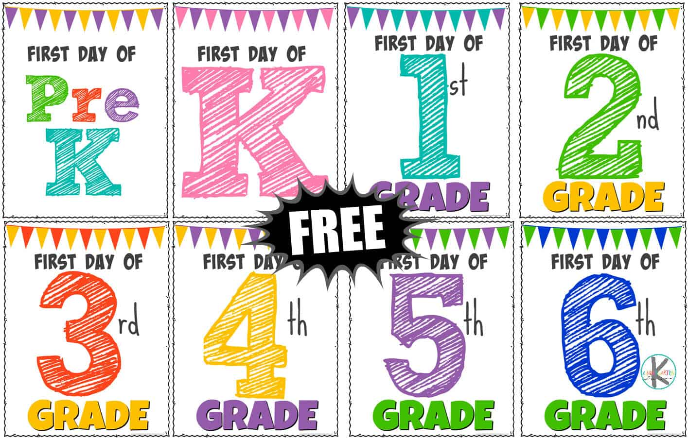 image relating to First Day of School Sign Printable known as Printable 1st Working day of College or university Indicators Kindergarten