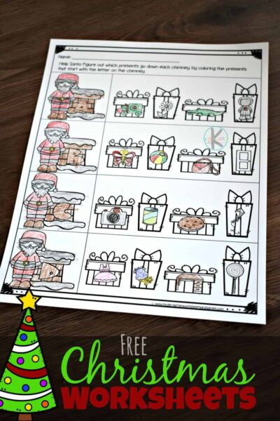 FREE Christmas Worksheets- help preschoolers and kindergartners practice phonics and alphabet wounds with these fun, NO PREP worksheets for December #alphabet #phonics #prek