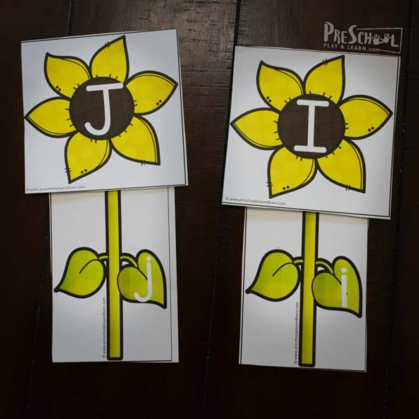 Sunflower Free Printable Alphabet Letters Upper and Lower Case
