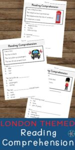 FREE London Reading Comprehension Worksheets  - help kids work on improving their reading comprehension and retention with these fun, free printable kindergarten worksheets #reading #kindergarten