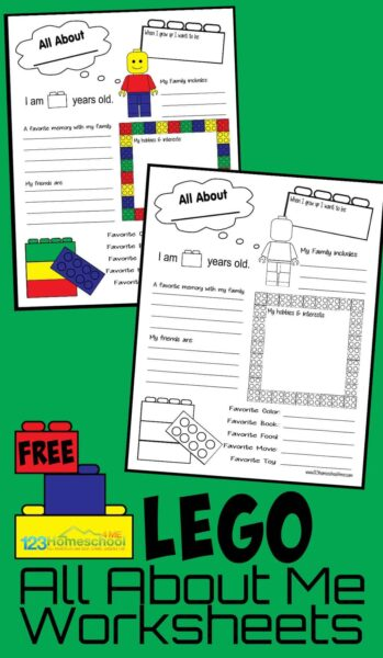 FREE Lego All About Me Printables perfect for first day of school