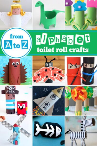 So many amazing cardboard tube crafts from A to Z to help kids have fun with the alphabet and a letter of the week