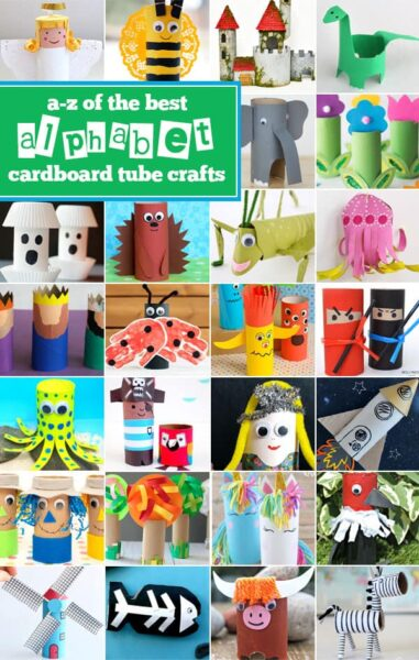Alphabet toilet paper roll crafts - so many really fun, creative, and unique crafts for kids of all ages #alphabet #toiletpaperroll #craftsforkids