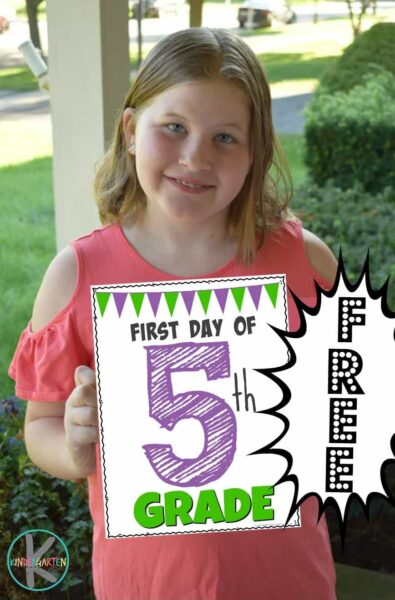 First Day of 5th grade sign; includes free printable last day of school sign too