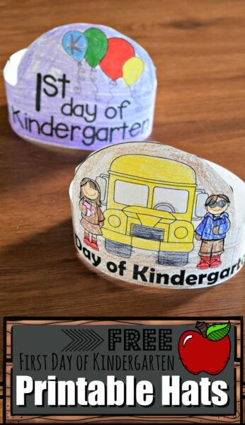 FREE First Day of Kindergarten Printable Hats - over 6 choices of this free printable perfect for kindergartners going back to school for the 1st day of school. Makes a fun craft or back to school sign alternative #backtoschool #firstdayofschool #kindergarten