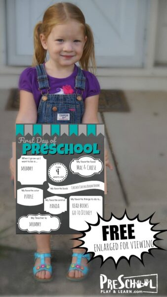 First Day of Preschool Sign with area to fill out favorites