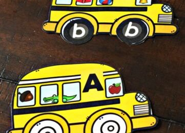 These adorable yellow school bus printables are a fun way for preschool, pre k, kindergarten, and first grade students to work on Learning Alphabet Sounds. Use this back to school printable to introduce children to phonics as they learn the beginning sounds words make while practicing matching upper and lowercase letters too.