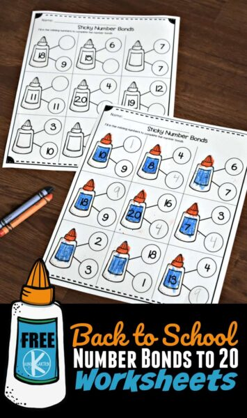 FREE Number Bonds to 20 Worksheets - super cute, back to school themed addition to 20 worksheets for kindergarten age kids #numberbonds #backtoschool #kindergarten