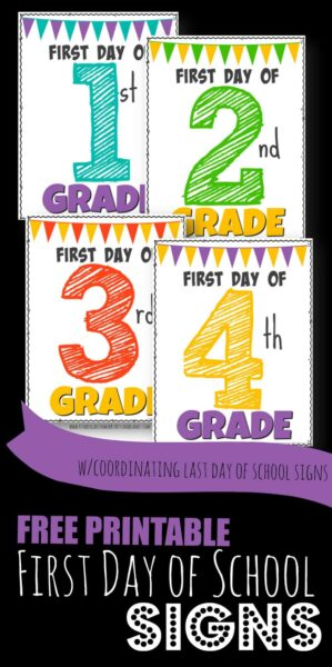 Celebrate back to school by taking pictures to remember the milestone with these super cute, free printable first day of school signs! There are back to school posters for preschool, pre k, kindergarten, first grade, 2nd grade, 3rd grade, 4th grade, 5th grade, and 6th grade students. Plus we've included coordinating last day of school signs so you can see how much your child has changed this school year! Whether you are a parent, teacher, or homeschooler - you will love these first day of school signs.