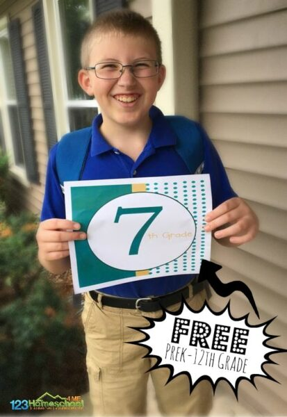 FREE Printable first day of school signs for Preschool through 12th grade
