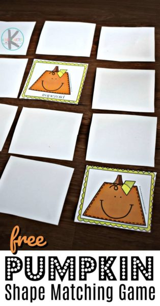 FREE Pumpkin Shape Matching Game - this is such a fun, free printable for prek and kindergarten age kids to practice shape recognition #shapes #kindergarten #math