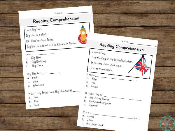 fun reading comprehension exercises for kindergartners