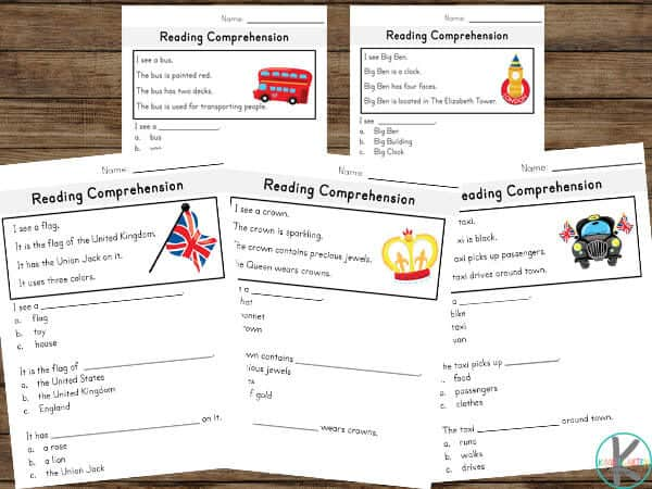 Super cute reading comprehension worksheets to help kids work on reading skills with a fun london theme