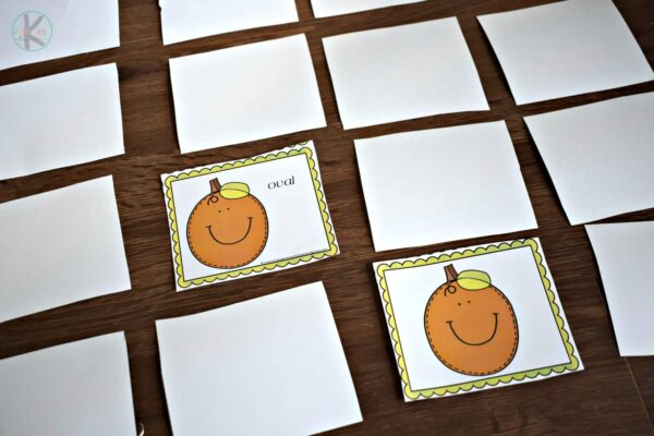 Super cute pumpkin themed shape matching game for kindergarten math
