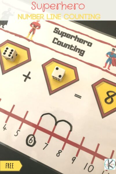 Kids will have fun practicing using a number line with this simple, super cute, FREE printablesuperhero counting activity. When kids are engaged and eager to learn - they learn more so use this fun addition activity with a Super Hero theme to your day to practice addition with kindergarten age children. Simply download pdf file withsuperhero kindergarten worksheets and grab 2 dice and you are ready to play and learn!
